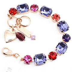 Xenia Rectangular and Round Crystal Bracelet in Rose Gold