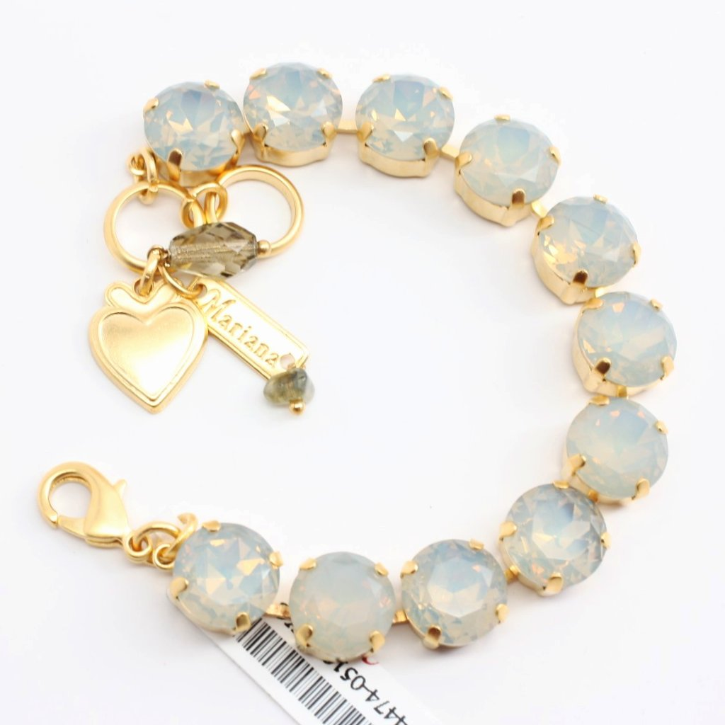 Gray Suede Large Crystal Bracelet in Yellow Gold