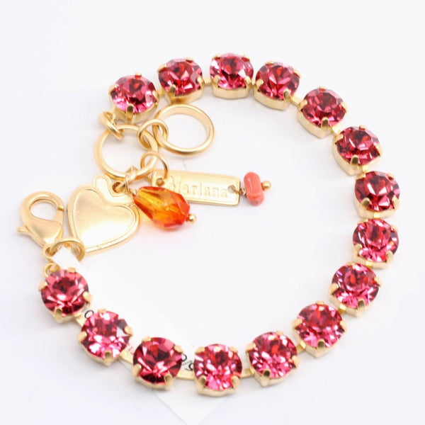 Indian Pink Medium Crystal Bracelet in Yellow Gold
