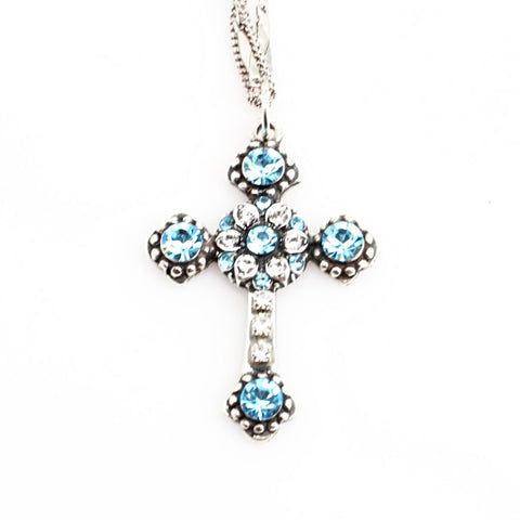 Aquamarine Double Chain Cross Pendant Necklace