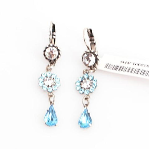 Aquamarine and Clear Flower Drop Earrings