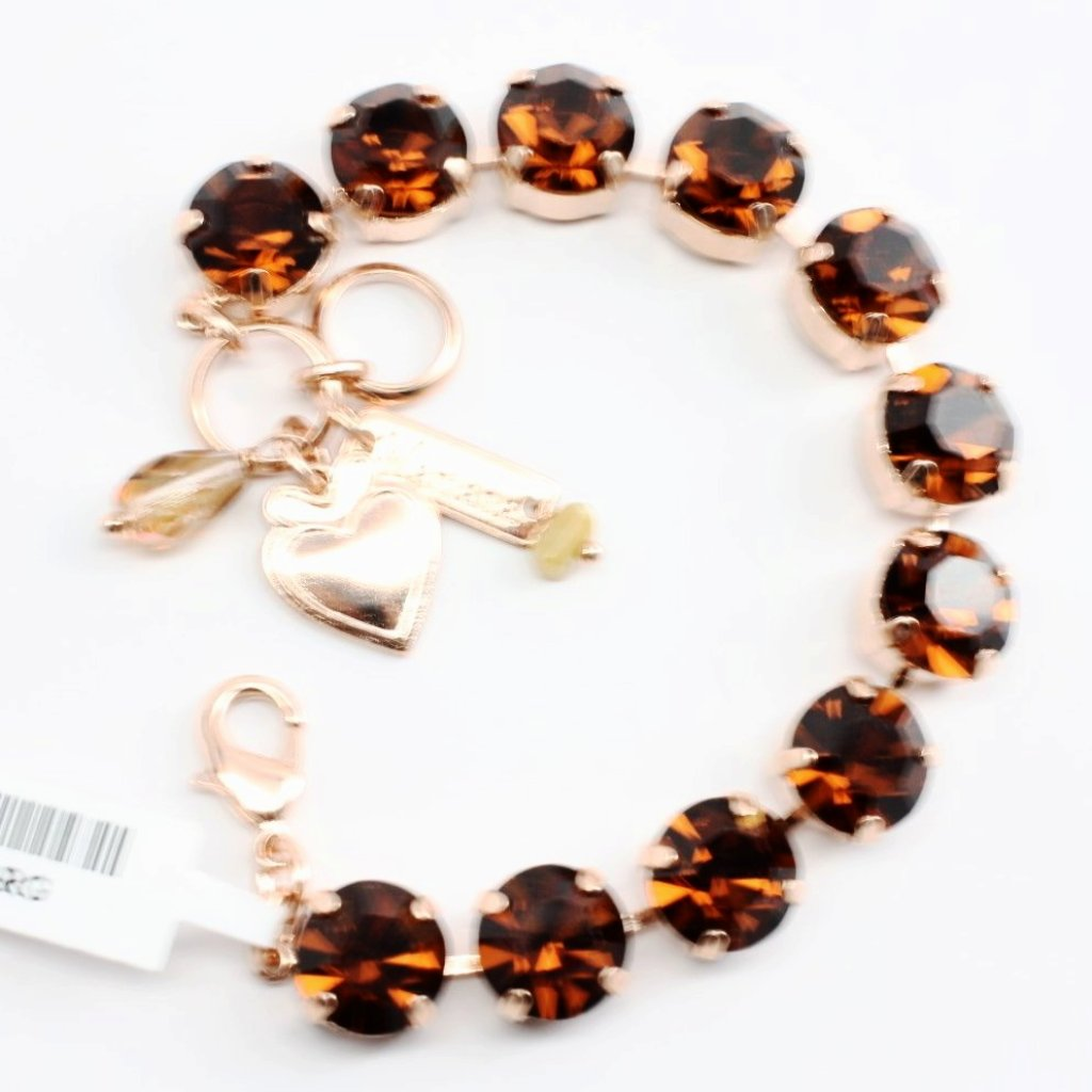 Smoked Topaz Large Crystal Bracelet in Rose Gold