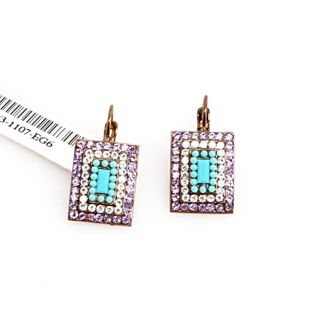 St. Lucia Rectangular Multi Crystal Earrings in English Gold
