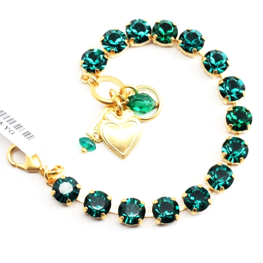 Emerald Green Medium Crystal Bracelet in Yellow Gold