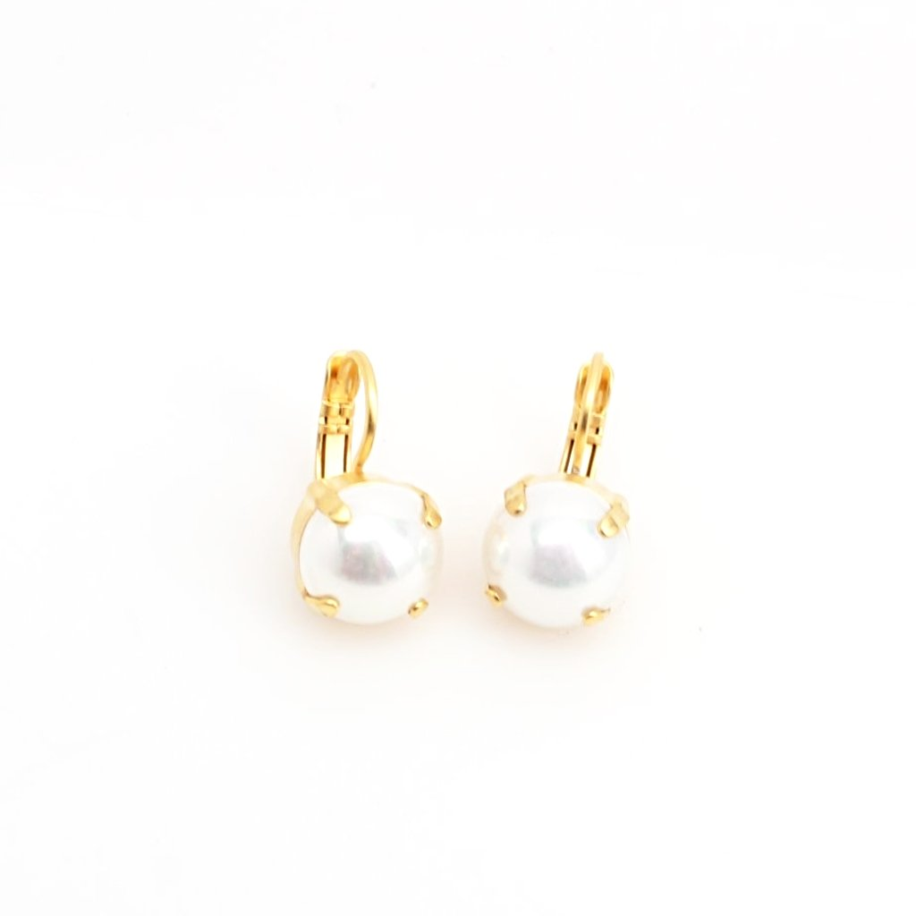 Pearl 11MM Crystal Earrings in Yellow Gold