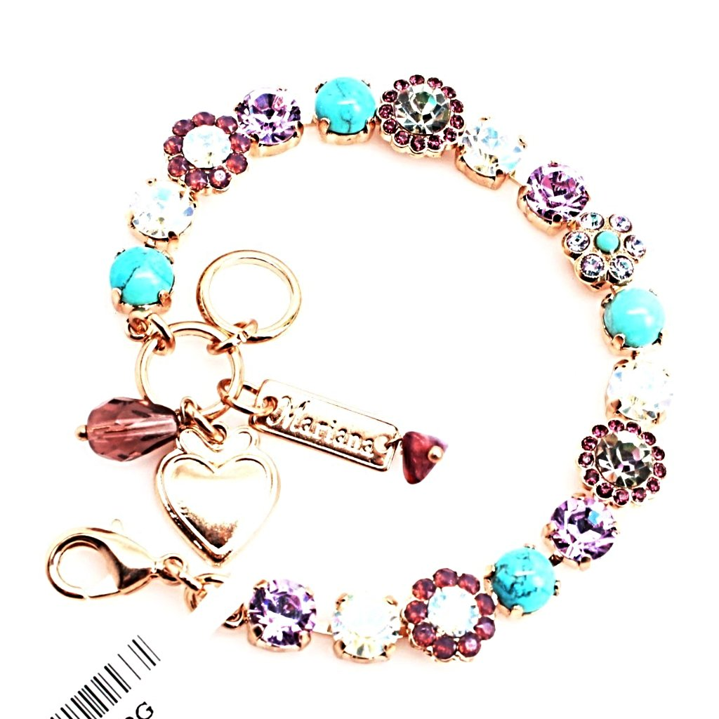 St. Lucia Must Have Ornate Crystal Flower Bracelet in Rose Gold