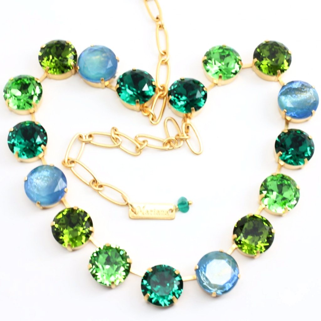Jade Extra Large Crystal Necklace in Yellow Gold