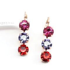 Xenia Triple Crystal Earrings in Rose Gold