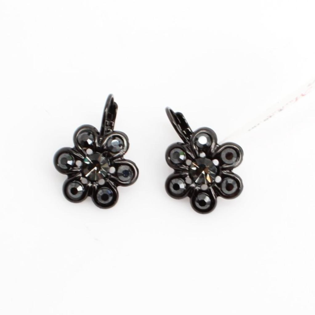Black Diamond Daisy Earrings in Black Rhodium