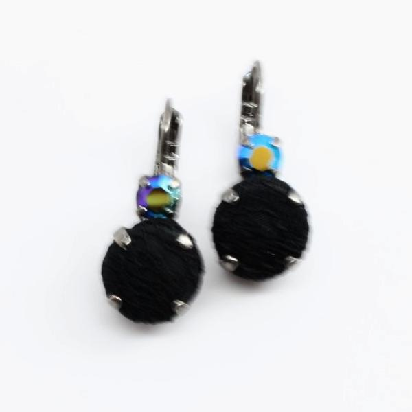 Midnight in Paris Fabric and Crystal Earrings
