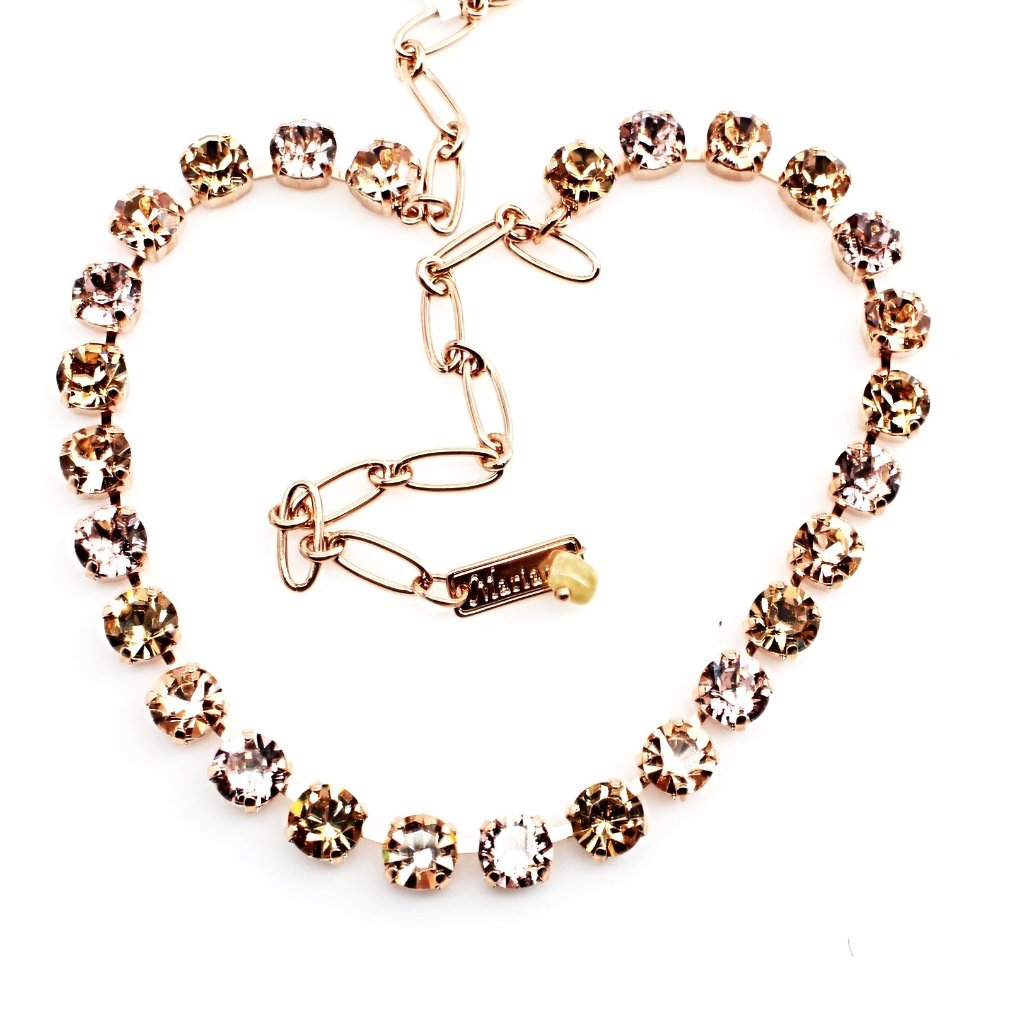 Golden Tulips Medium Crystal Necklace in Rose Gold