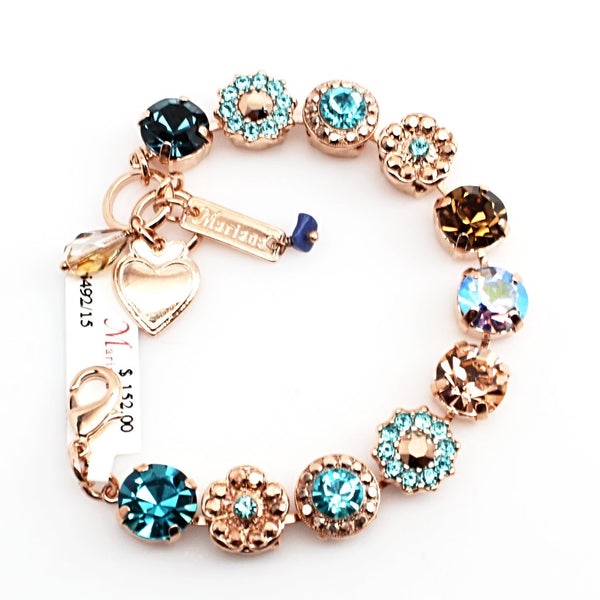 Blue Suede Shoes Large Crystal Bracelet in Rose Gold