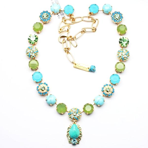 Caprioska Collection Crystal Necklace W/Pear Drop in Yellow Gold