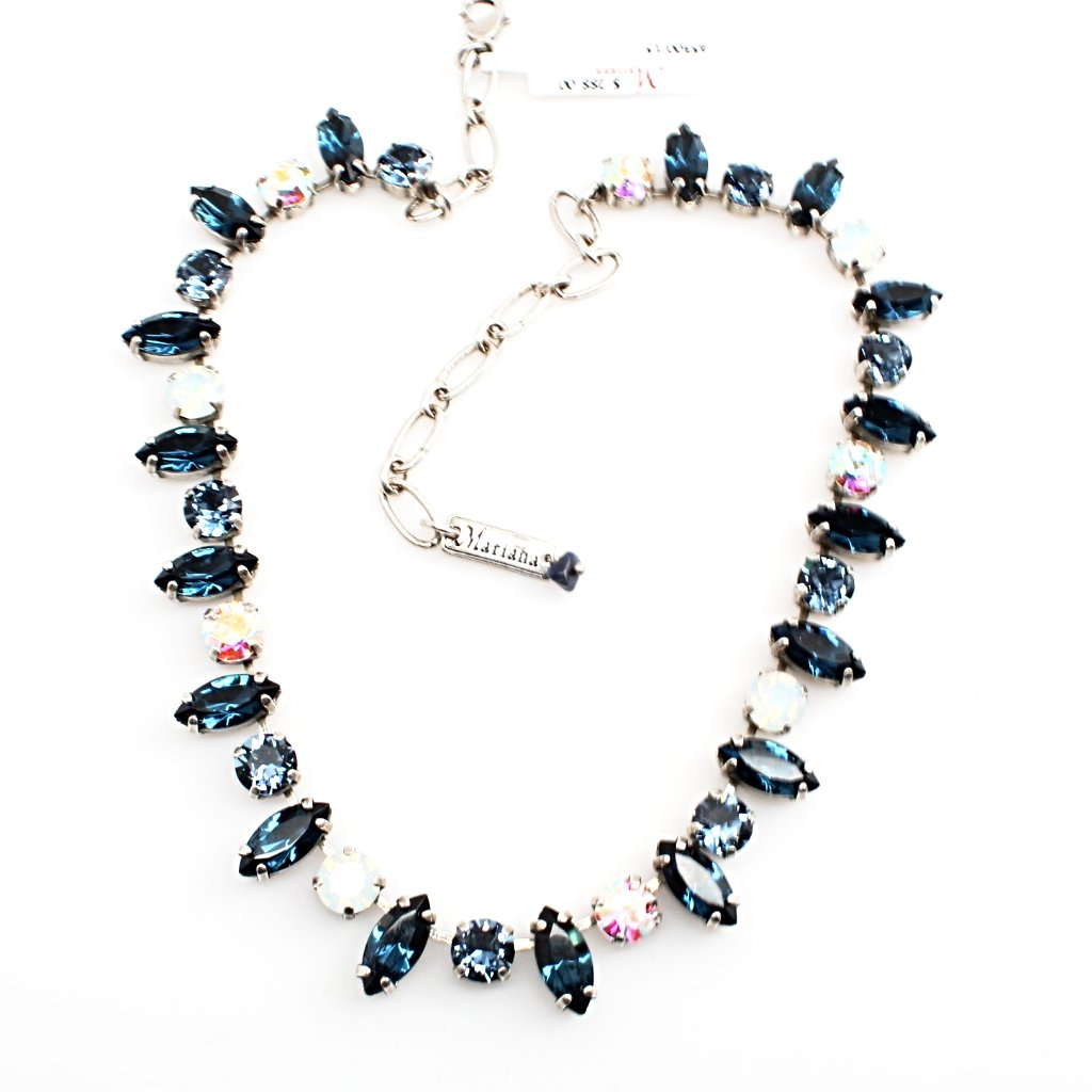 Mood Indigo Marquise and Round Crystal Necklace
