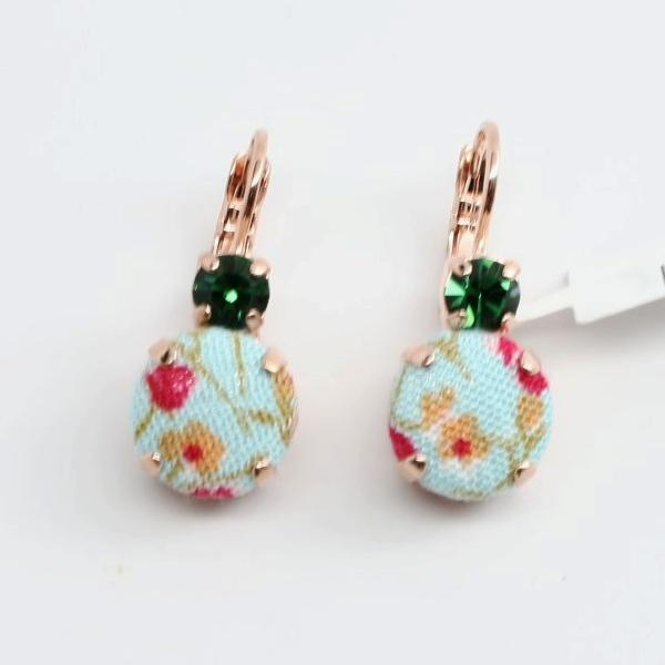 Mariana Fabric and Crystal Earrings in Rose Gold