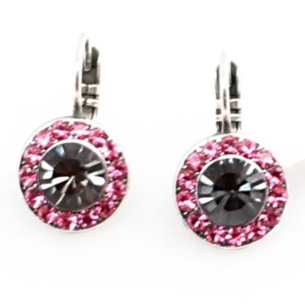 Peppermint Collection Round Crystal Earrings