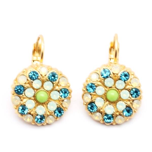 Grace Collection Ornate Crystal Earrings in Yellow Gold