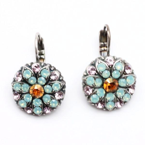 Friendship Pacific Opal w/Pink Accent Ornate Crystal Earrings