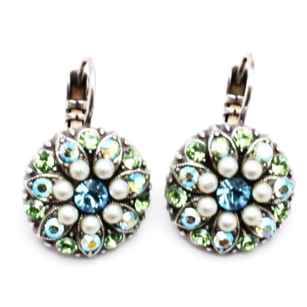 Green, Pearl and Blue Ornate Crystal Earrings
