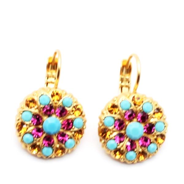 Happy Days Ornate Crystal Earrings in Yellow Gold