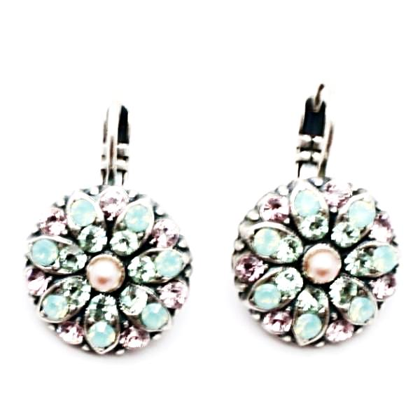 Pacific Opal, Pink and Pearl Collection Ornate Crystal Earrings