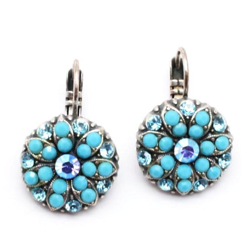 Turquoise and Blue Ornate Crystal Earrings