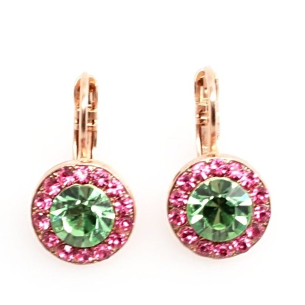 Tutti Frutti Round Crystal Earrings in Rose Gold