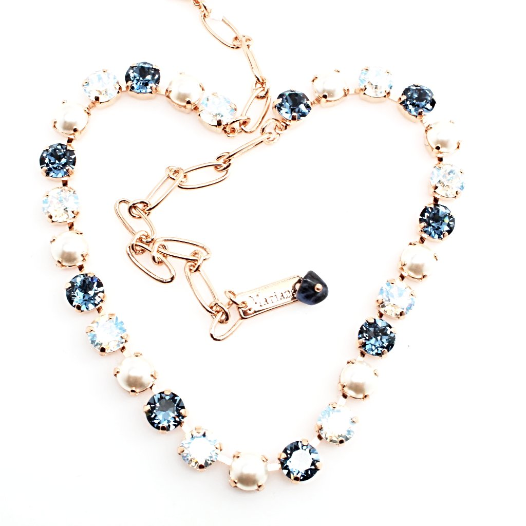 Indian Sapphire Medium Crystal Necklace in Rose Gold