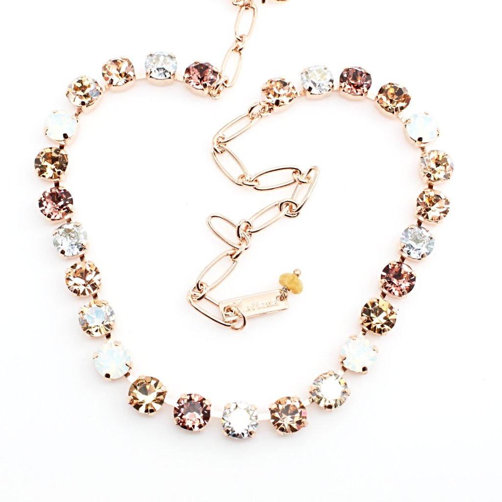 Creme Brulee Collection Medium Crystal Necklace in Rose Gold
