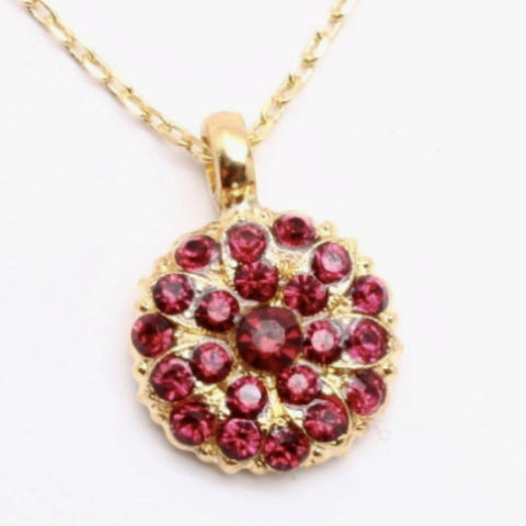 July Ruby Birthstone Crystal Guardian Angel Necklace in Yellow Gold