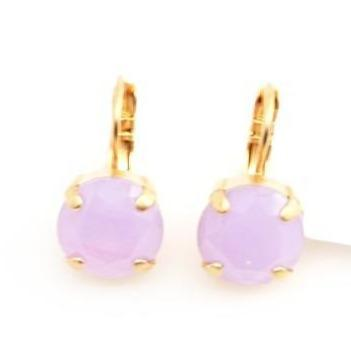 Lavender 11MM Crystal Earrings in Yellow Gold