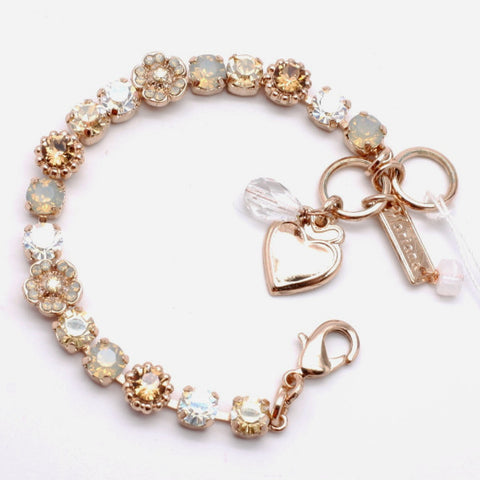 Champagne and Caviar Flower Bracelet in Rose Gold