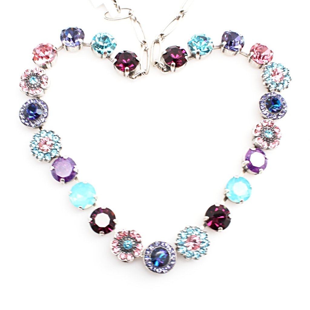 Cotton Candy Large Ornate Crystal Necklace