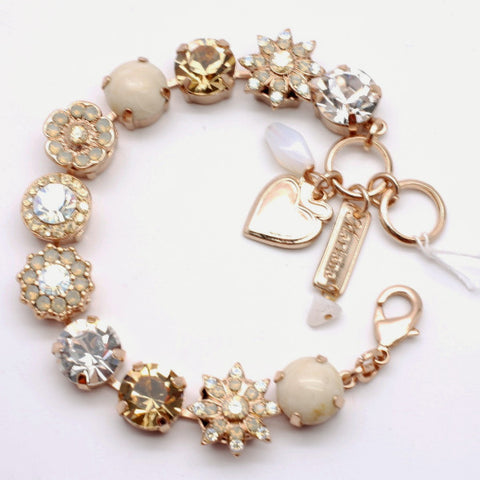 Champagne and Caviar Flower Bracelet set in Rose Gold