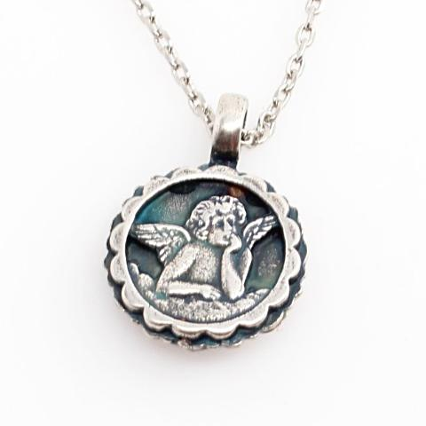 Siam and White Opal Guardian Angel Necklace