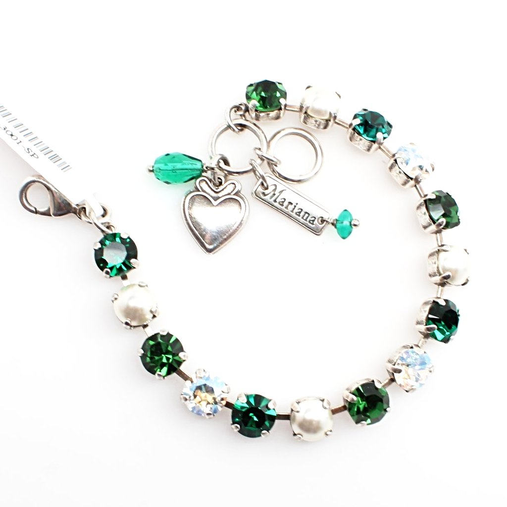 Emerald Pearls Medium Crystal Bracelet