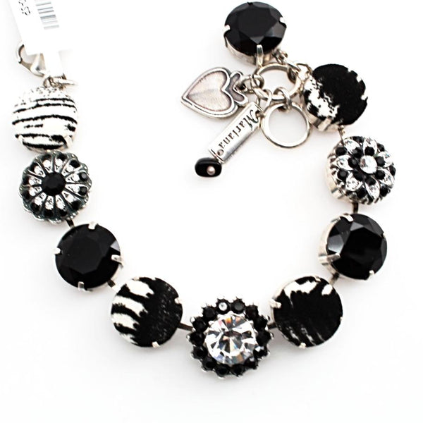 Black and Clear Extra Large Fabric and Crystal Bracelet