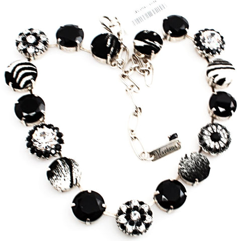 Black and Clear Extra Large Fabric and Crystal Necklace