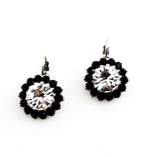 Jet and Clear Large Crystal Flower Earrings