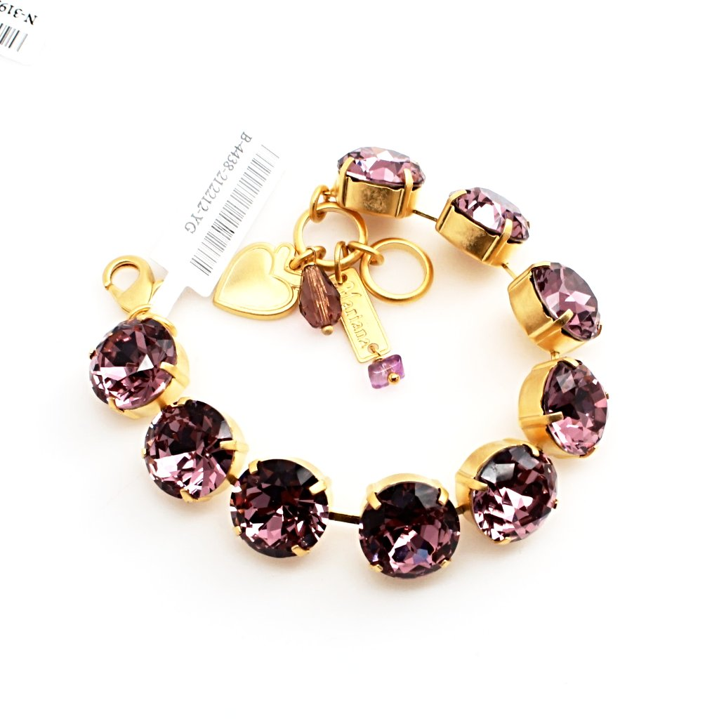 Light Amethyst 15MM Extra Large Crystal Bracelet in Yellow Gold