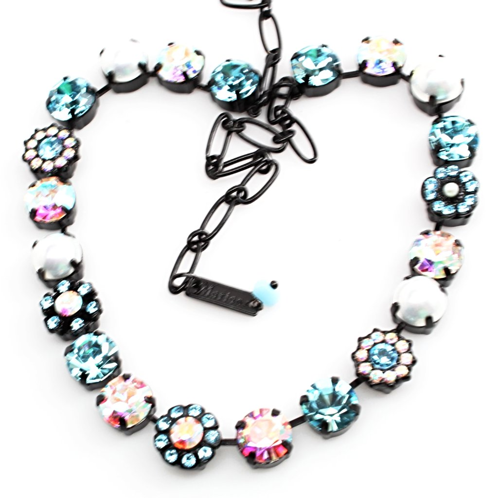 Aquamarine and Pearl Crystal Necklace in Black Rhodium