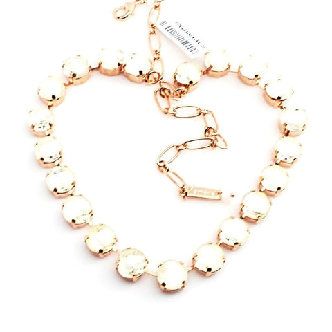 White Givre 11MM Crystal Necklace in Rose Gold