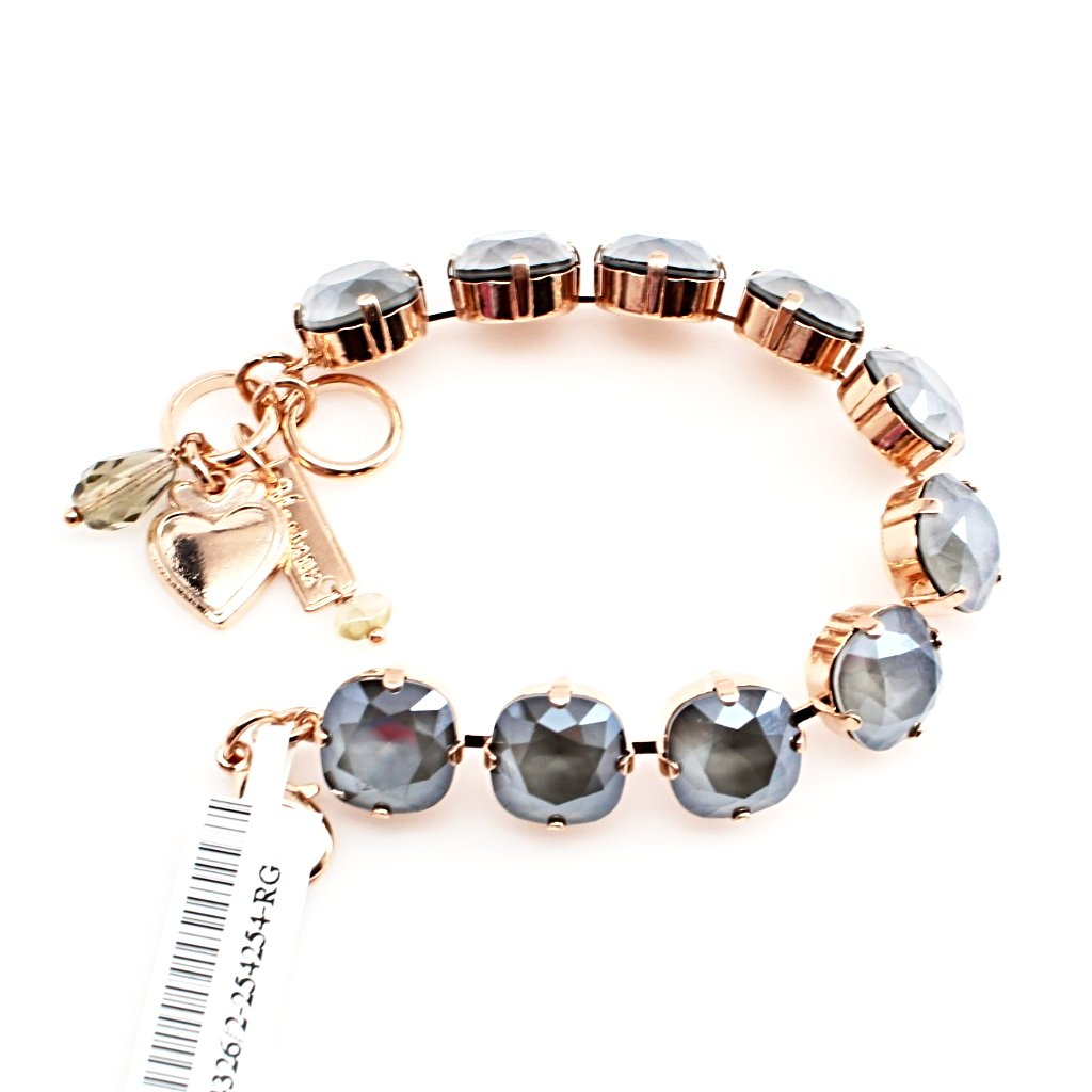 Gray 12MM Square Crystal Bracelet in Rose Gold