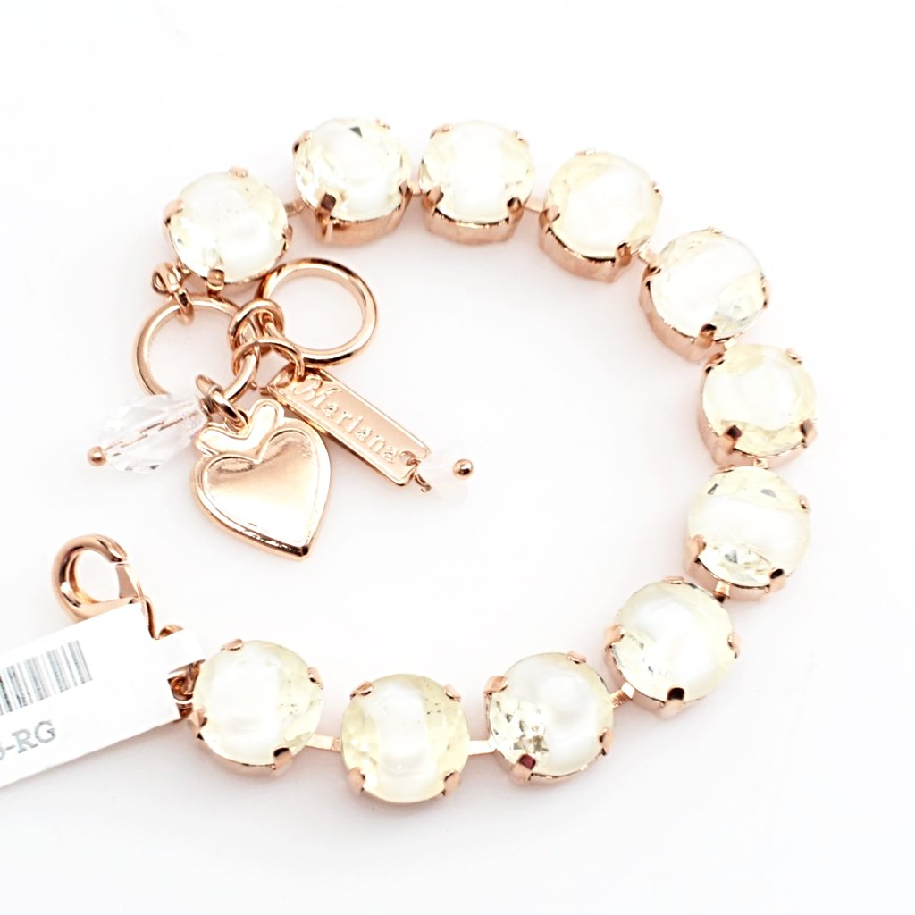 White Givre 11MM Crystal Bracelet in Rose Gold