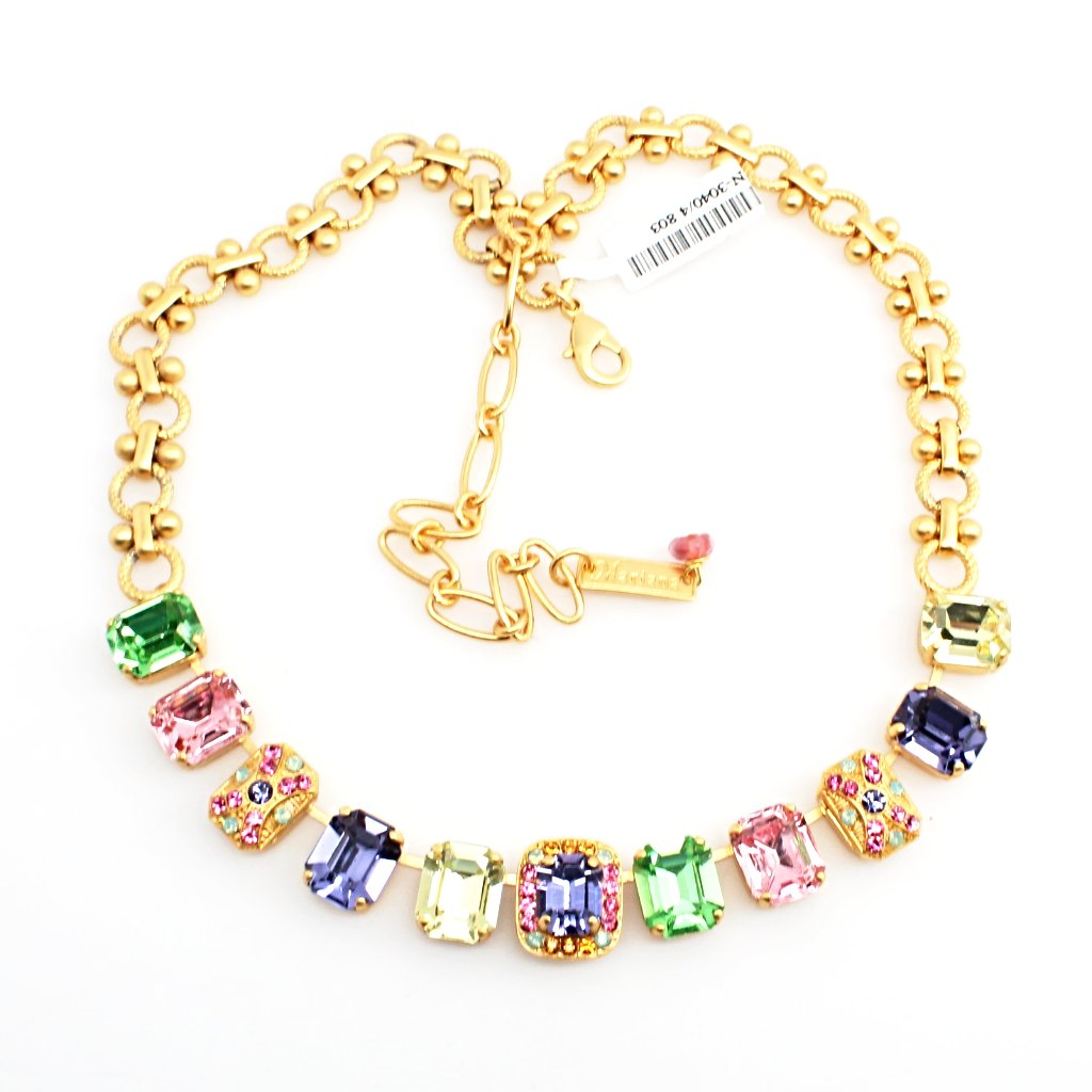 Flower Power Large Rectangular Crystal Necklace in Yellow Gold