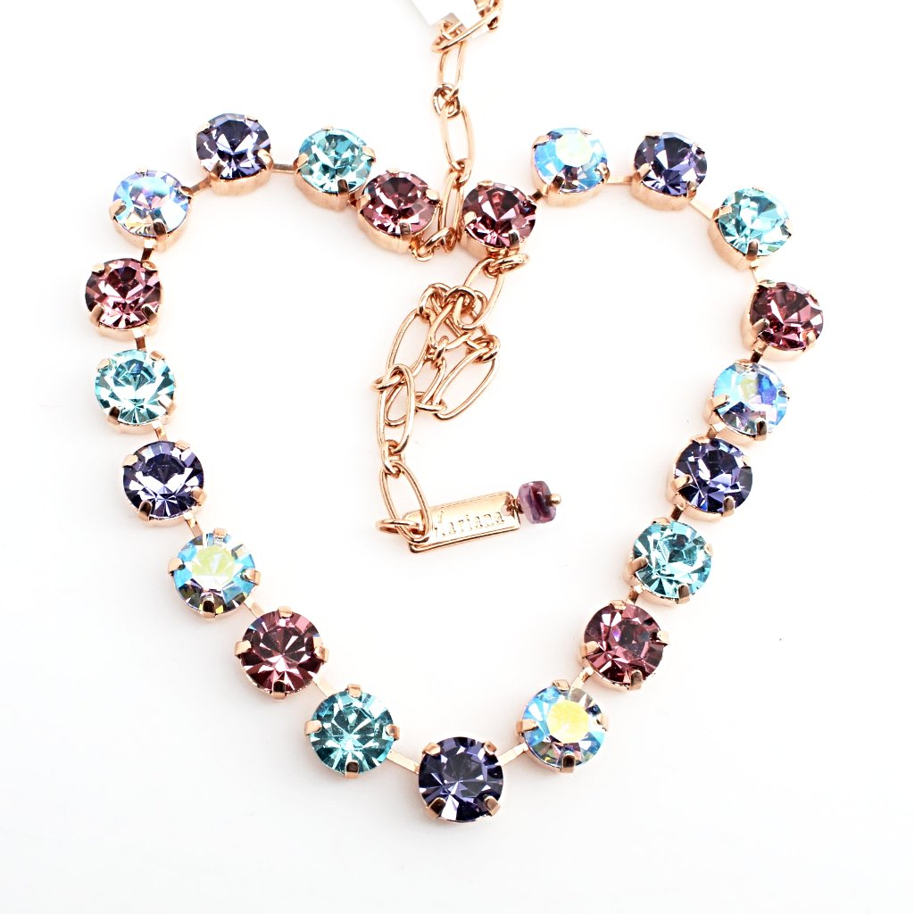 Light Amethyst, Aquamarine and Tanzanite Large Crystal Necklace in Rose Gold