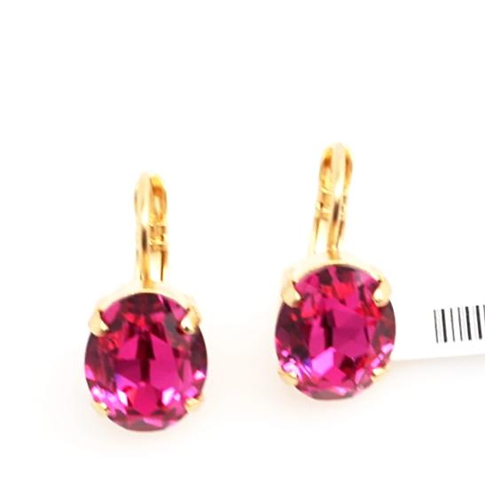 Fuchsia 12MM Oval Crystal Earrings in Yellow Gold