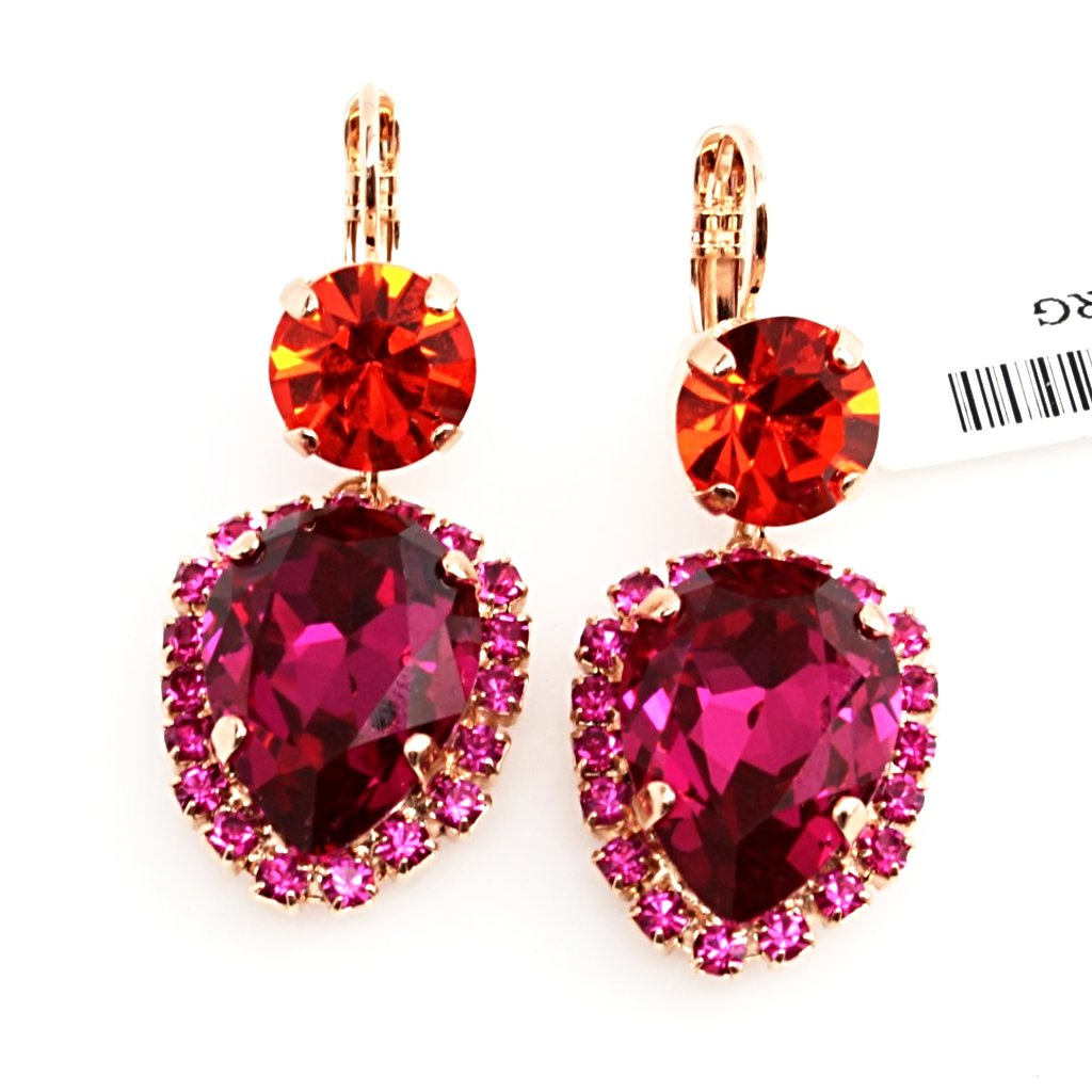 Lady Marmalade Round and Pear Crystal Earrings in Rose Gold