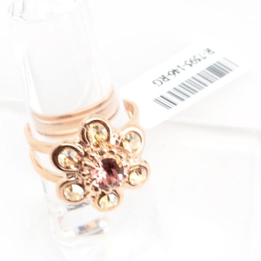 Creme Brûlée Crystal Flower Ring in Rose Gold