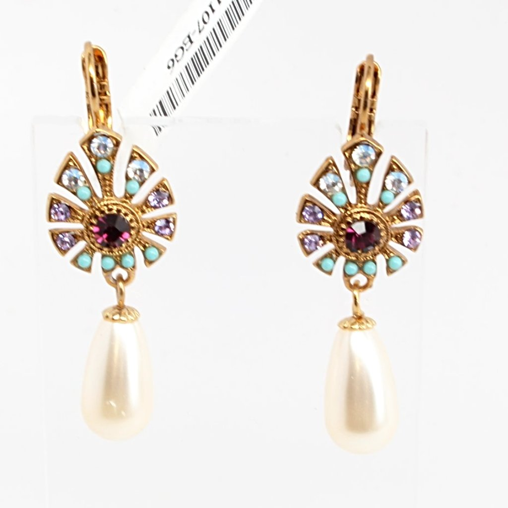 St. Lucia Crystal Earrings with Pearl Drop in English Gold